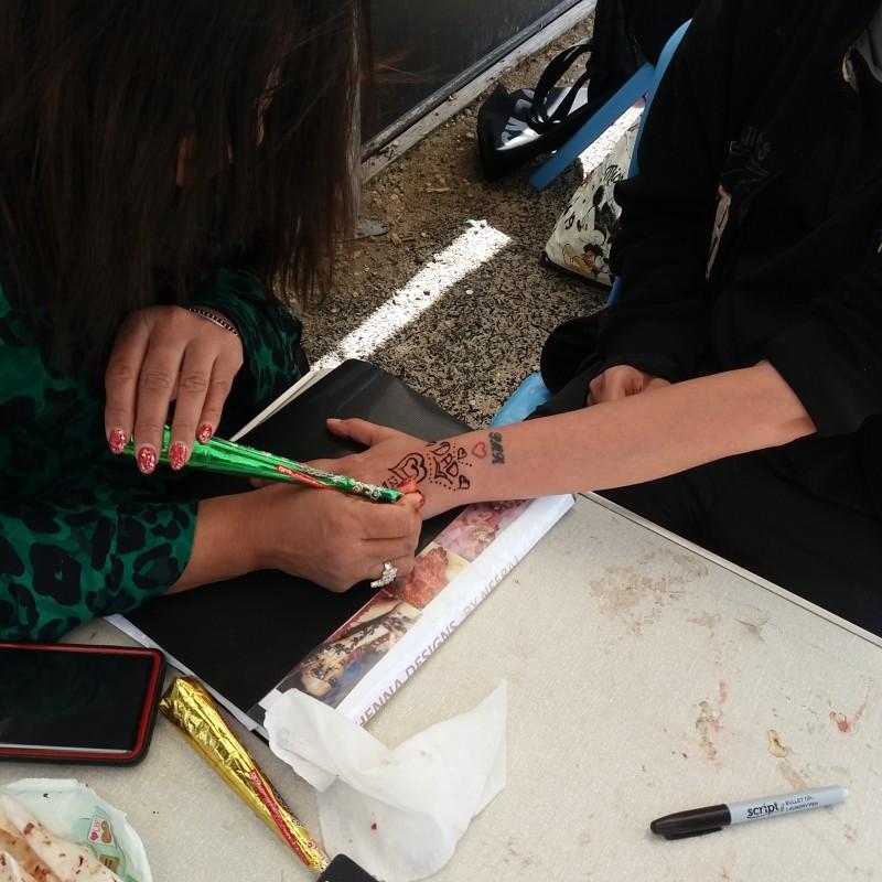 Henna being done by Neeru.