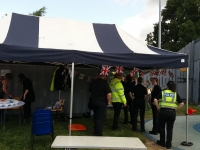 The police cadets are setting up.