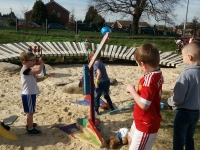 Our young uns trying a hand at the catapult